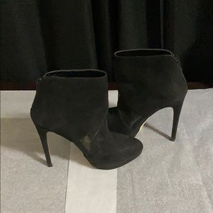 Black Faux Suede Heeled Boots with Mesh Detail
